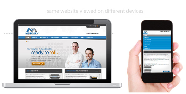 responsive design - preview of a website on different devices