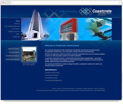 Website Thumbnail for Coastcrete Constructions
